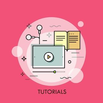Ilustração de linha fina de estudo on-line
