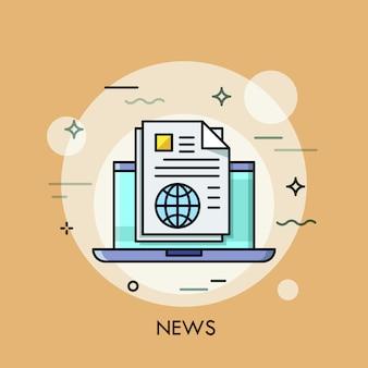 Ilustração de linha fina de notícias