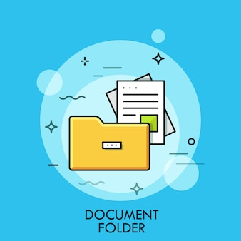 Ilustração de linha fina de pasta de documentos