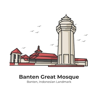Ilustração de linha fofa do ponto de referência da grande mesquita banten da indonésia