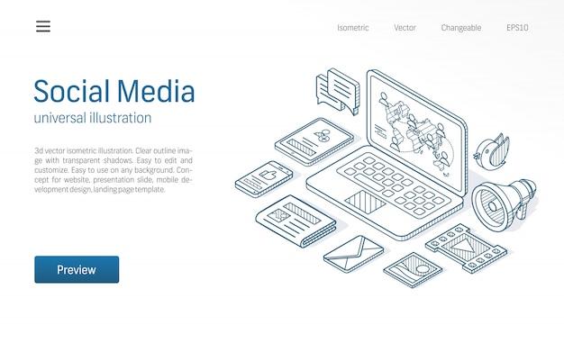 Ilustração de linha isométrica moderna de rede de mídia social. feed de notícias, publicar conteúdo, negócios comunicam ícones de esboço desenhado. as pessoas se conectam conceito.