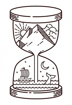 Ilustração de linha natural de ampulheta