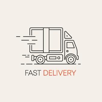 Ilustração de linha plana com navio de entrega avião e carro para web design serviço de entrega de comida