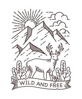 Ilustração de linha selvagem e livre