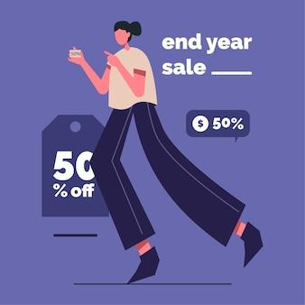 Ilustração de liquidação de fim de ano