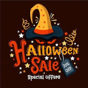 Ilustração de liquidação de halloween com descontos especiais