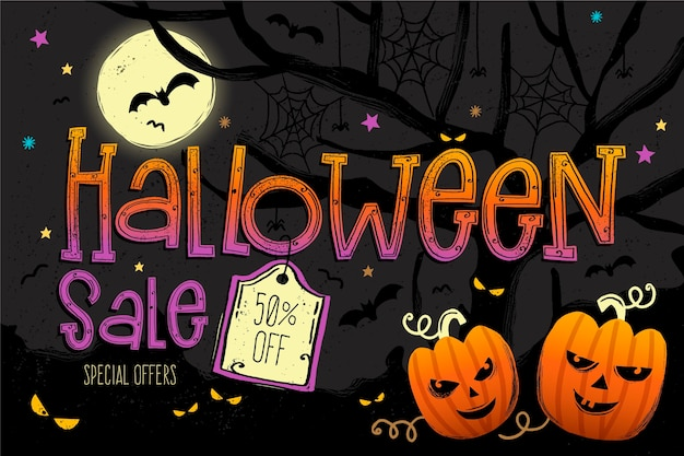 Ilustração de liquidação de halloween com oferta especial