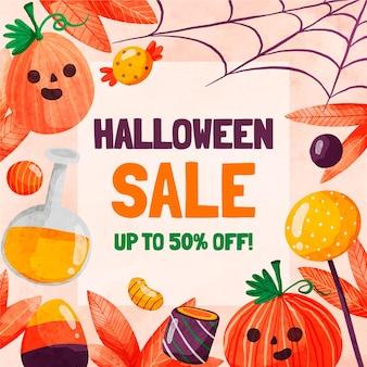 Ilustração de liquidação de halloween em aquarela