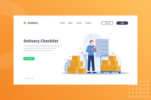 Ilustração de lista de verificação de entrega para o conceito de remessa e entrega na página inicial