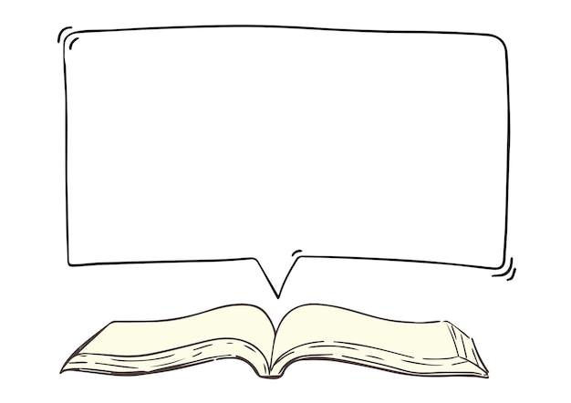 Ilustração de livro aberto com balão de fala apresentando um dicionário de mensagem de citação com um