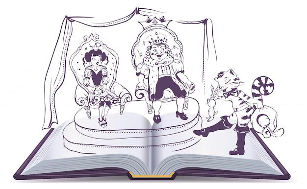 Ilustração de livro aberto conto de gato de botas