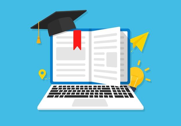 Ilustração de livro, chapéu e laptop