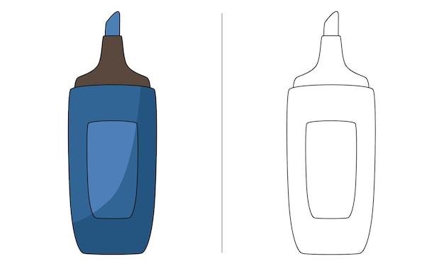 Ilustração de livro de colorir infantil marca-texto azul