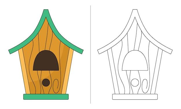 Ilustração de livro de colorir infantil old bird nesting house