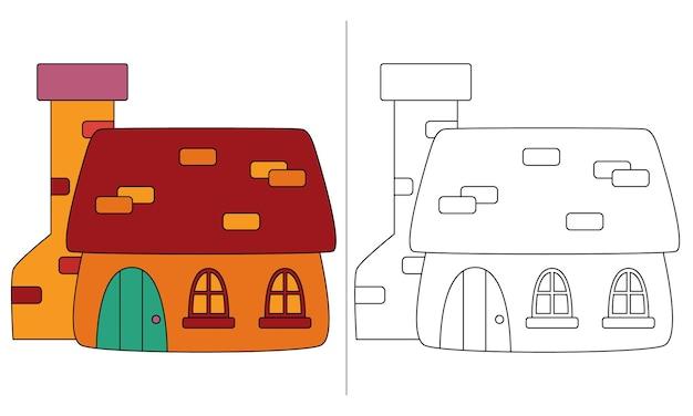 Ilustração de livro de colorir infantil orange dwarf house