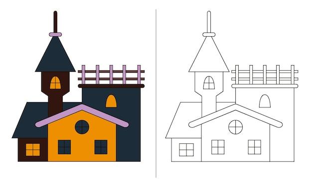 Ilustração de livro de colorir infantil para halloween wide castle