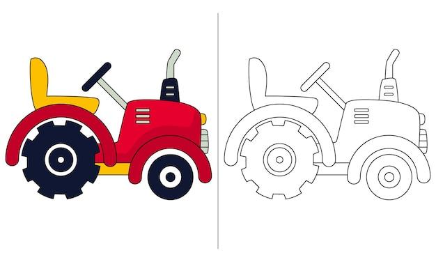 Ilustração de livro de colorir infantil pequeno trator
