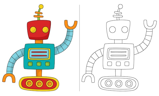 Ilustração de livro de colorir infantil robô tanque com rastreio