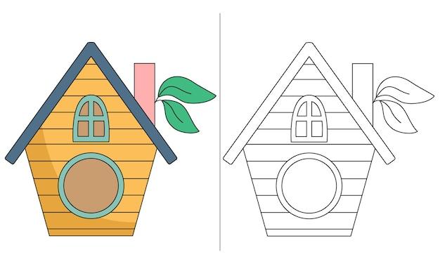 Ilustração de livro de colorir infantil yellow bird house