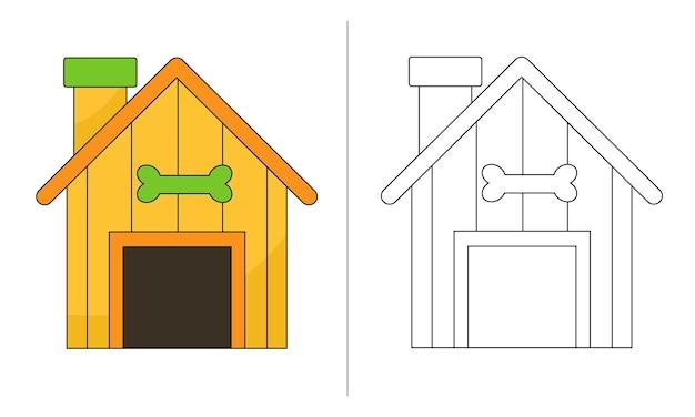 Ilustração de livro de colorir infantil yellow dog house