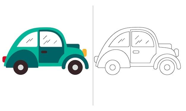 Ilustração de livro de colorir para crianças green mini car