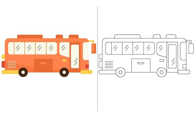 Ilustração de livro de colorir para crianças orange big bus