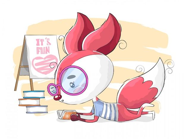 Ilustração de livro de leitura de raposa fofa