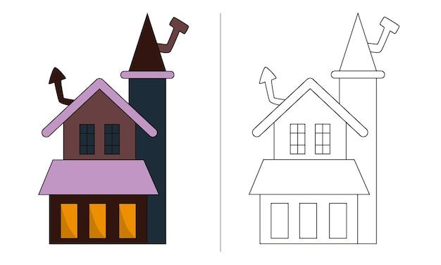 Ilustração de livro para colorir infantil antigo castelo de halloween