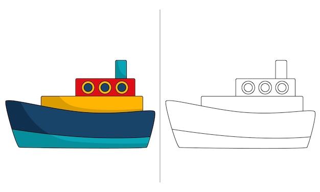 Ilustração de livro para colorir infantil barco civil