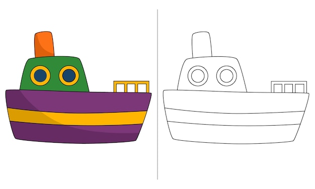 Ilustração de livro para colorir infantil barco de pesca