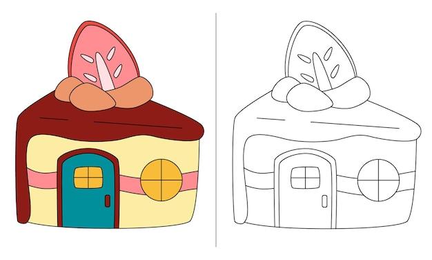 Ilustração de livro para colorir infantil bolo de frutas