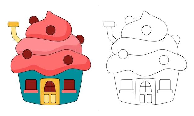 Ilustração de livro para colorir infantil cake house mais float