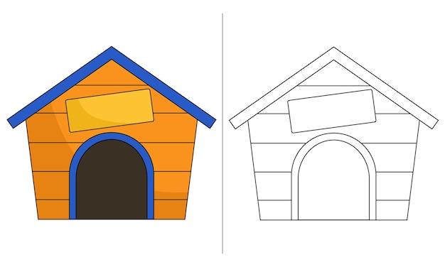Ilustração de livro para colorir infantil - casa de cachorro amarela com cartaz com o nome