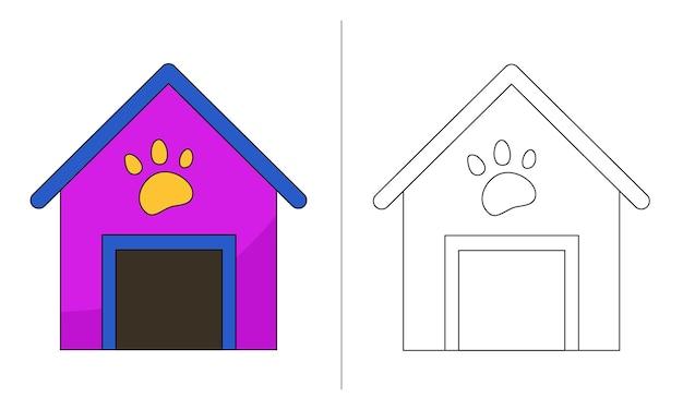 Ilustração de livro para colorir infantil casa de cachorro roxa