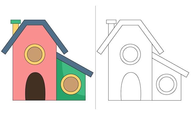 Ilustração de livro para colorir infantil casa de pássaros médios
