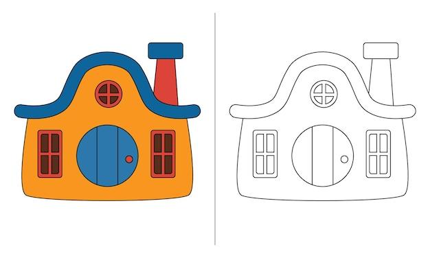 Ilustração de livro para colorir infantil casa dos anões amarelos