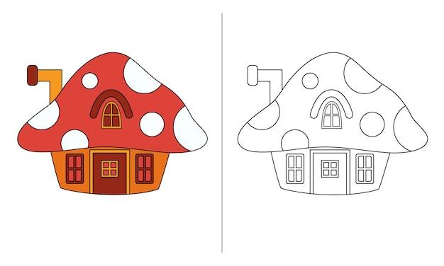 Ilustração de livro para colorir infantil casa dos anões de cogumelos