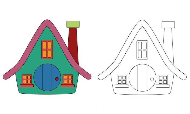 Ilustração de livro para colorir infantil casa simples dos anões