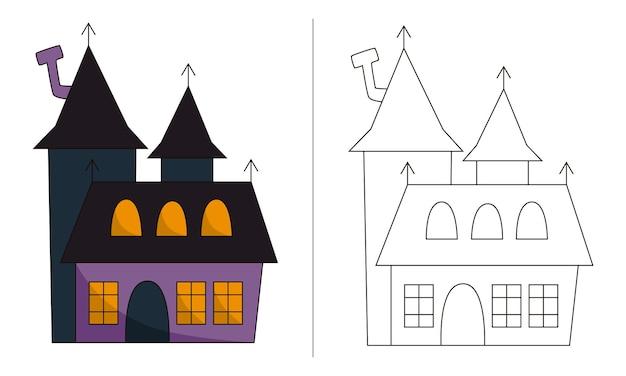 Ilustração de livro para colorir infantil castelo de halloween