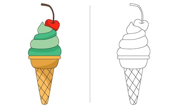 Ilustração de livro para colorir infantil cone de xícara de sorvete verde com cereja