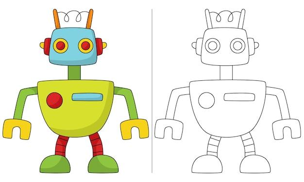 Ilustração de livro para colorir infantil mini robô retro