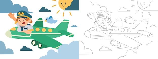 Ilustração de livro para colorir infantil, o piloto está pilotando o avião