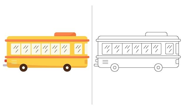 Ilustração de livro para colorir infantil ônibus escolar amarelo
