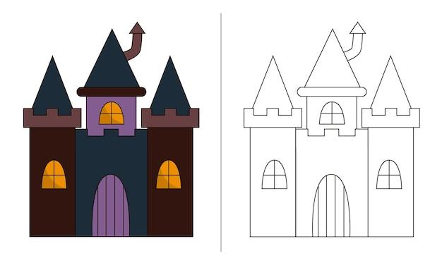 Ilustração de livro para colorir infantil pequeno castelo de halloween