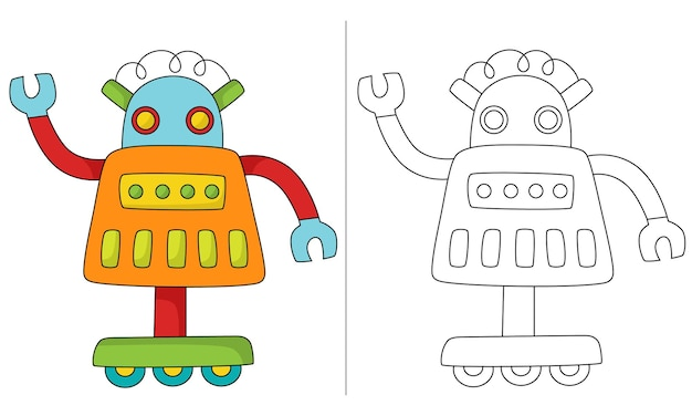 Ilustração de livro para colorir infantil retro robot three wheel