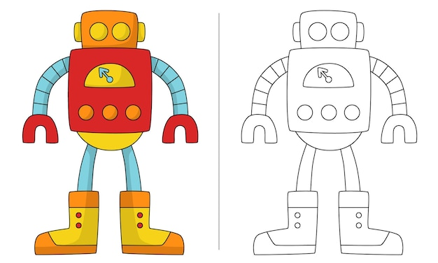 Ilustração de livro para colorir infantil retro robot