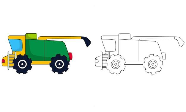 Ilustração de livro para colorir infantil retroescavadeira