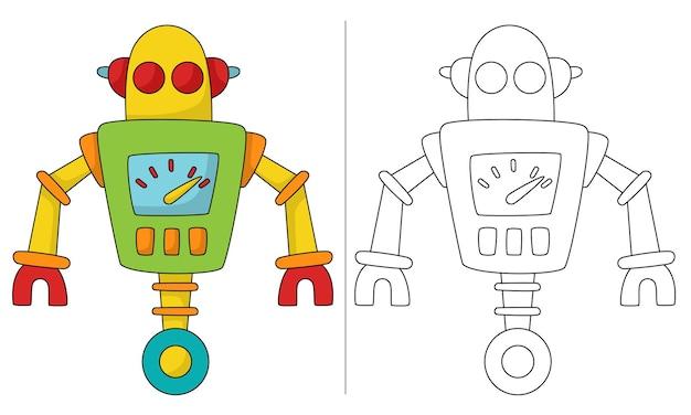 Ilustração de livro para colorir infantil robô retro com roda