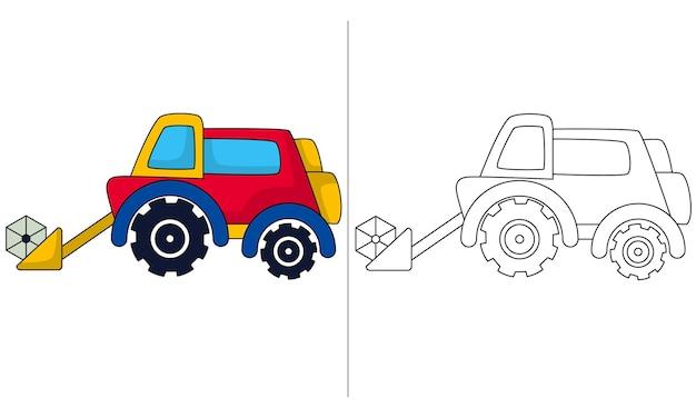 Ilustração de livro para colorir infantil trator carregador frontal