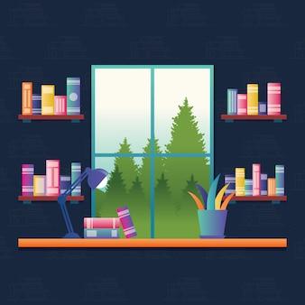 Ilustração de livros com janela